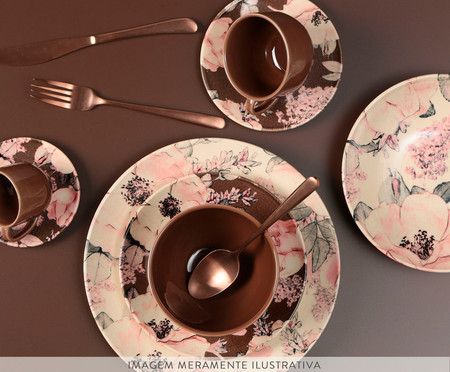 Jogo de Pratos Fundos em Cerâmica Coup Bonjour 06 Pessoas - Rosa e Branco | WestwingNow