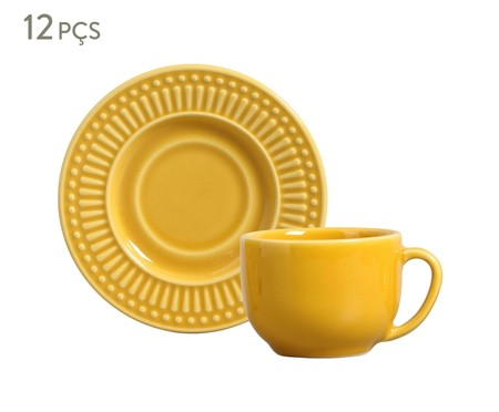 Jogo de Xícaras para Chá em Cerâmica Roma 06 Pessoas - Amarelo Mostarda | WestwingNow