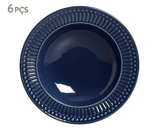 Jogo de Pratos Fundos em Cerâmica Roma Deep - Azul, Azul   WestwingNow