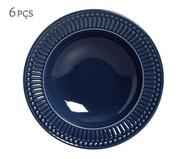Jogo de Pratos Fundos em Cerâmica Roma Deep Blue 06 Pessoas - Azul | WestwingNow