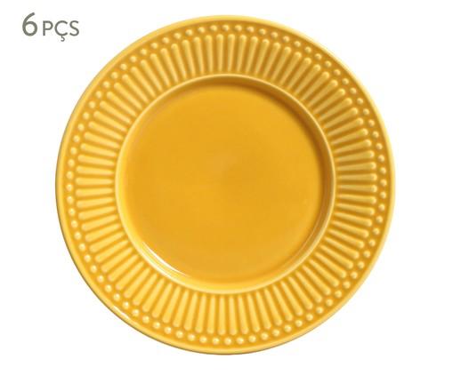 Jogo de Pratos para Sobremesa em Cerâmica Roma 06 Pessoas - Mostarda, Amarelo | WestwingNow