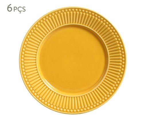 Jogo de Pratos Rasos em Cerâmica Roma - Mostarda, Amarelo | WestwingNow