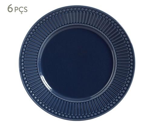 Jogo de Pratos Rasos em Cerâmica Roma Deep Blue 06 Pessoas - Azul, Azul   WestwingNow