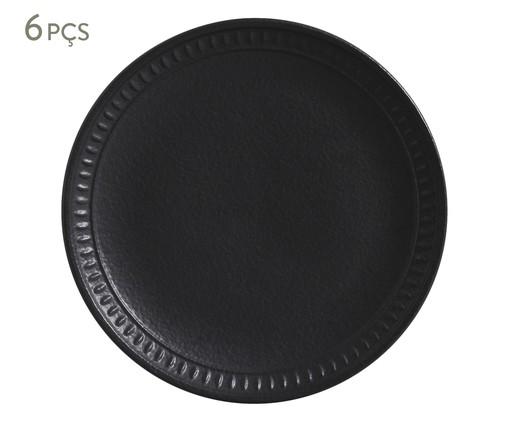 Jogo de Pratos para Sobremesa em Cerâmica Pietra Nero 06 Pessoas - Preto Fosco, Preto | WestwingNow