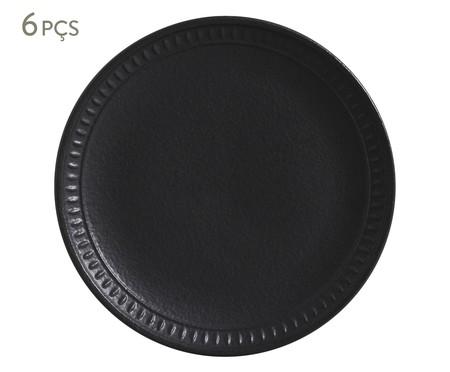 Jogo de Pratos para Sobremesa em Cerâmica Pietra Nero - Preto Fosco | WestwingNow