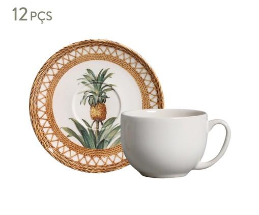 Jogo de Xícaras para Chá em Cerâmica Coup Pineapple 06 Pessoas - Branco e Marrom, Branco | WestwingNow