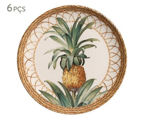 Jogo de Pratos para Sobremesa em Cerâmica Coup Pineapple Natural 06 Pessoas - Marrom, Marrom   WestwingNow