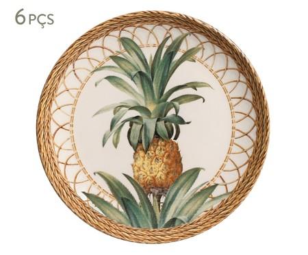Jogo de Pratos para Sobremesa em Cerâmica Coup Pineapple Natural 06 Pessoas - Marrom | WestwingNow