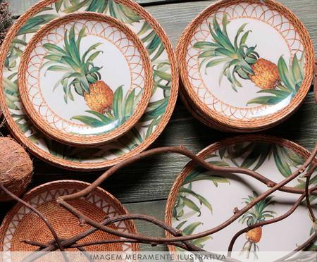 Jogo de Pratos para Sobremesa em Cerâmica Coup Pineapple Natural - 06 Pessoas   WestwingNow