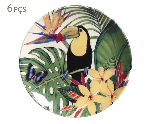 Jogo de Pratos para Sobremesa em Cerâmica Coup Paradiso 06 Pessoas - Verde, Verde   WestwingNow