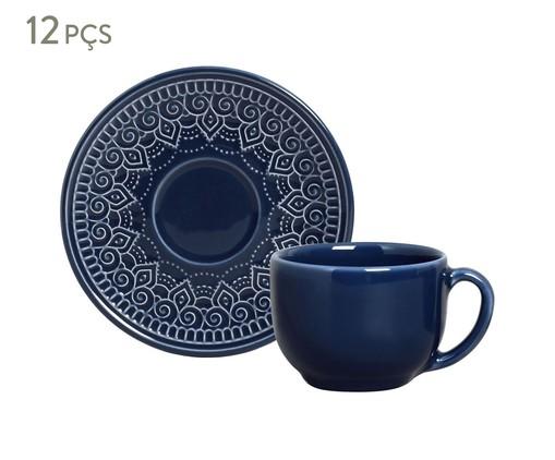 Jogo de Xícaras para Chá em Cerâmica Agra Deep Blue 06 Pessoas - Azul, Azul | WestwingNow