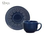 Jogo de Xícaras para Chá em Cerâmica Agra Deep Blue 06 Pessoas - Azul | WestwingNow