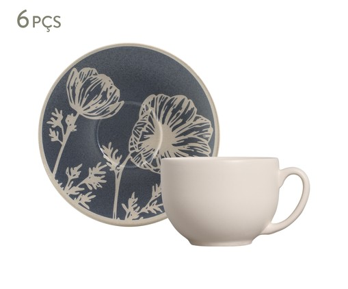 Jogo de Xícaras para Chá em Cerâmica Coup Florescer 06 Pessoas - Off White e Azul, Bege,Azul | WestwingNow