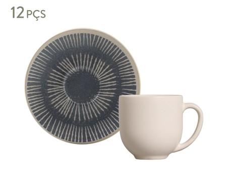 Jogo de Xícaras para Café em Cerâmica Coup Florescer - Off White e Azul   WestwingNow