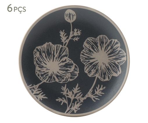 Jogo de Pratos para Sobremesa em Cerâmica Coup Florescer 06 Pessoas - Branco e Azul, Bege,Azul | WestwingNow