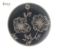 Jogo de Pratos para Sobremesa em Cerâmica Coup Florescer 06 Pessoas - Branco e Azul | WestwingNow
