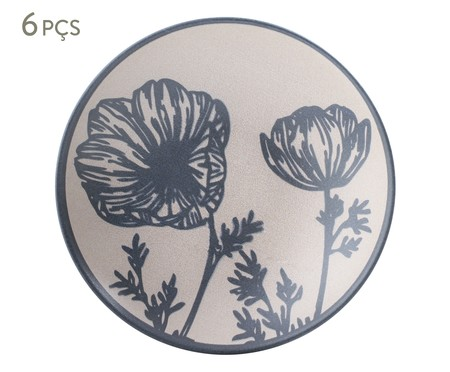 Jogo de Pratos Fundos em Cerâmica Coup Florescer - Off White e Azul | WestwingNow