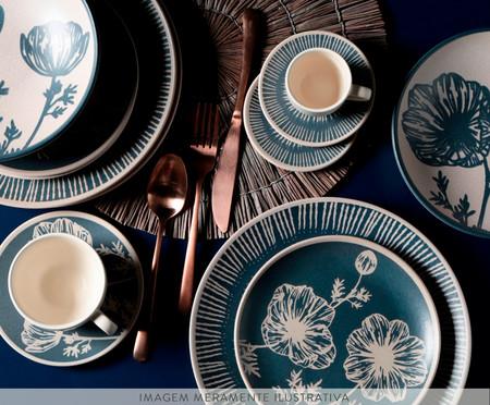 Jogo de Pratos Fundos em Cerâmica Coup Florescer 06 Pessoas - Off white e Azul | WestwingNow