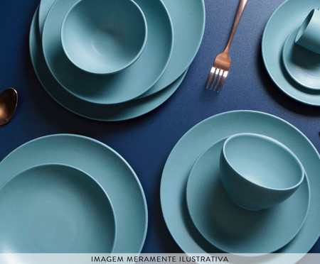 Jogo de Pratos para Sobremesa em Cerâmica Stoneware Fiordes - 06 Pessoas   WestwingNow