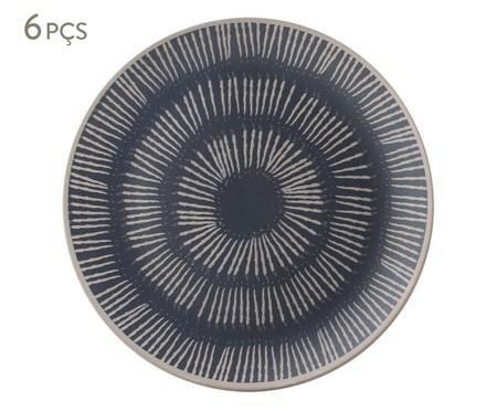 Jogo de Pratos Rasos em Cerâmica Coup Florescer 06 Pessoas - Off White e Azul | WestwingNow