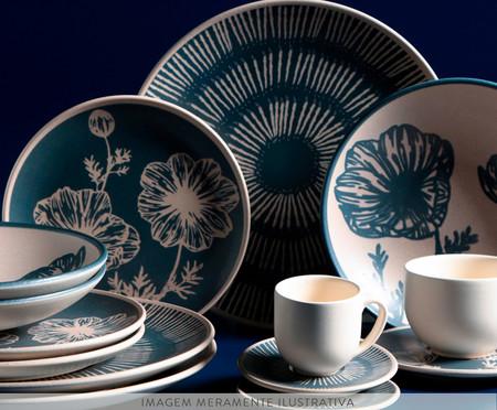 Jogo de Pratos Rasos em Cerâmica Coup Florescer 06 Pessoas - Off White e Azul   WestwingNow