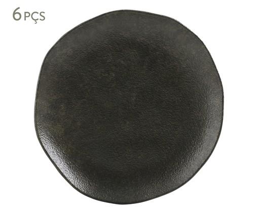 Jogo de Pratos para Sobremesa em Cerâmica Orgânico Onyx 06 Pessoas - Preto, Preto   WestwingNow