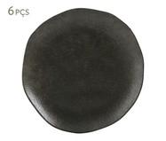 Jogo de Pratos para Sobremesa em Cerâmica Orgânico Onyx 06 Pessoas - Preto | WestwingNow