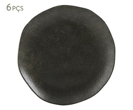 Jogo de Pratos para Sobremesa em Cerâmica Orgânico Onyx - Preto | WestwingNow