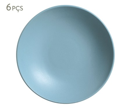 Jogo de Pratos Fundos em Cerâmica Stoneware Fiordes - Azul | WestwingNow