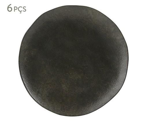 Jogo de Pratos Rasos em Cerâmica Orgânico Onyx 06 Pessoas - Preto, Preto   WestwingNow
