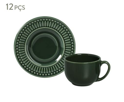 Jogo de Xícaras para Chá em Cerâmica Roma Botânico 06 Pessoas - Verde, Verde | WestwingNow