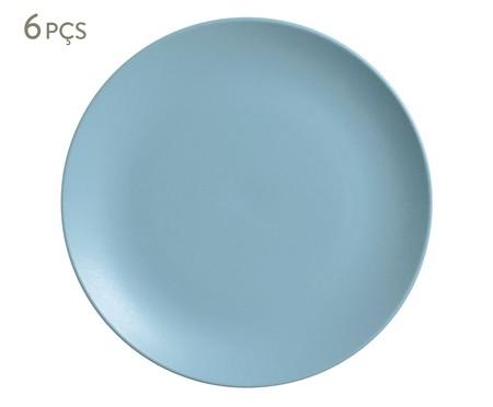 Jogo de Pratos Rasos em Cerâmica Coup Stoneware Fiordes 06 Pessoas - Azul | WestwingNow