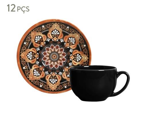 Jogo de Xícaras para Chá  Coup Damasco - 06 Pessoas, Marrom | WestwingNow