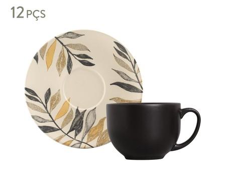 Jogo de Xícaras para Chá em Cerâmica Coup Amarilla - Off White e Preto   WestwingNow