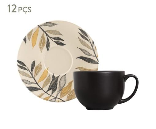 Jogo de Xícaras para Chá em Cerâmica Coup Amarilla 06 Pessoas - Branco e Preto, Bege   WestwingNow