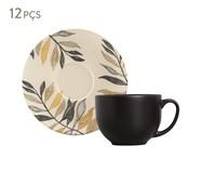Jogo de Xícaras para Chá em Cerâmica Coup Amarilla 06 Pessoas - Branco e Preto | WestwingNow