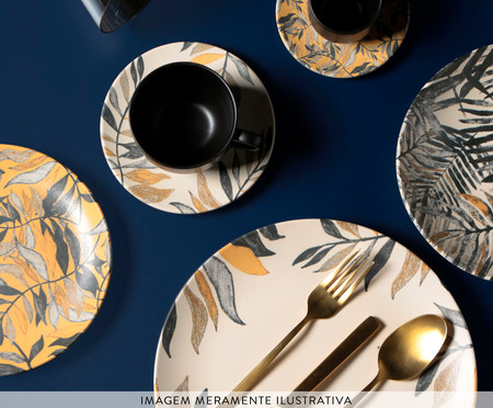 Jogo de Xícaras para Chá em Cerâmica Coup Amarilla - Off White e Preto | WestwingNow