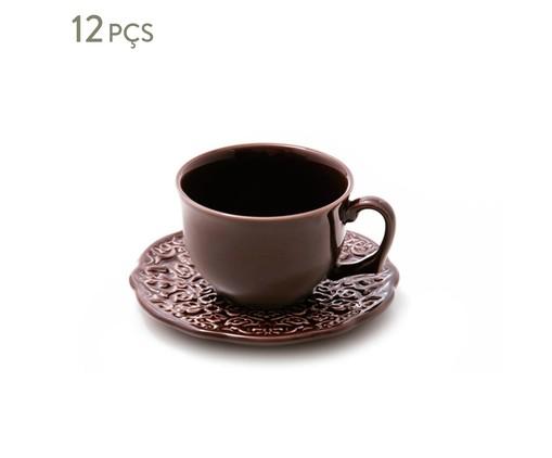 Jogo de Xícaras para Chá em Cerâmica Marrakech Esp. Pimenta Do Reino 06 Pessoas - Marrom, Marrom | WestwingNow