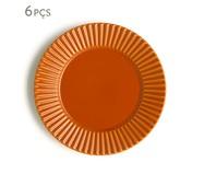 Jogo de Pratos Rasos em Cerâmica Plissé Especiarias Canela 06 Pessoas - Laranja | WestwingNow