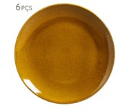 Jogo de Pratos Rasos em Cerâmica Stoneware Âmbar - 06 Pessoas | WestwingNow