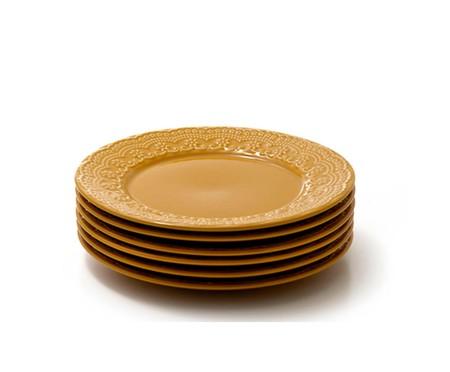 Jogo de Pratos Rasos em Cerâmica Madeleine Especiarias Curry - Amarelo | WestwingNow