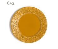 Jogo de Pratos Rasos em Cerâmica Madeleine Especiarias Curry 06 Pessoas - Amarelo | WestwingNow