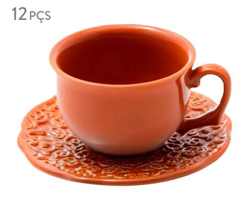 Jogo de Xícaras para Chá em Cerâmica Marrakech Especiarias Canela 06 Pessoas - Laranja, Laranja | WestwingNow