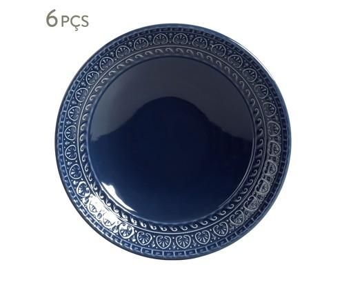 Jogo de Pratos Fundos em Cerâmica Greek Deep - Azul, Azul   WestwingNow