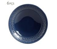 Jogo de Pratos Fundos em Cerâmica Greek Deep Blue 06 Pessoas - Azul | WestwingNow