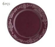 Jogo de Pratos Rasos em Cerâmica Acanthus Especiarias Sumac 06 Pessoas - Violeta | WestwingNow