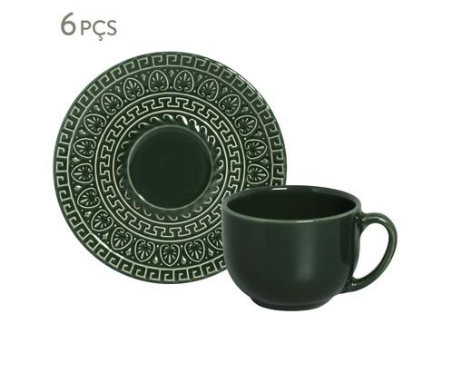 Jogo de Xícaras para Chá em Cerâmica Greek Botânico 06 Pessoas - Verde, Verde Escuro | WestwingNow