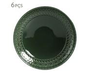 Jogo de Pratos Fundos em Cerâmica Greek Botânico 06 Pessoas - Verde Escuro | WestwingNow