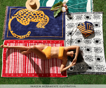 Toalha de Praia com Franja Onça Collage | WestwingNow