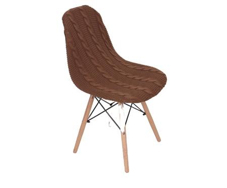 Capa para Cadeira Eames em Tricot Trançada Eiffel Charles - Marrom | WestwingNow